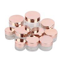 Матовый стеклянный крем для банки четкие косметические бутылки лосьон для губ Бальзам для губ Контейнер с розовой золотой крышкой 5G 10G 15G 20G 30G 50G 100G
