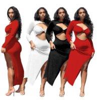 Black / Blanco / Rojo Hollow Frontal Vestido largo de fiesta largo Mujeres de manga larga lateral Vestidos Split Vestidos elegancia Forma de cuerpo Vestidos flacos