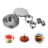 Outils de gâteaux 14pcs / Set Forme ronde Moules de coupe en acier inoxydable Mousse Bague Outil de coupe de haute qualité 40