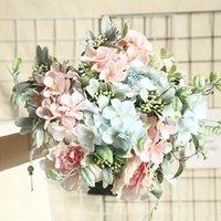 Luanqi Camellia Sztuczne Kwiaty Hortensja Jedwabna Peonia Bukiet Fałszywy Kwiat DIY Rose Wedding Super Bride Holding Decor Dekoracyjne