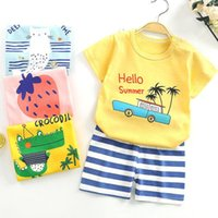 Summer Children's Cotton Clothing Casual Cartoon Baby Boy And Girl 2-piece Set suit Clothes Set 0-24 Months Sets