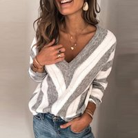 2021 Design Ladies Loose V-neck Long-sleeved Sweater High Quality Top Factory Outlet