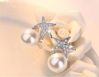 2021 Nuevo estilo Silver Stud Pendientes Mujer Moda Joyería Retro Simple Starfish Pearl Crystal Zircon Pendientes