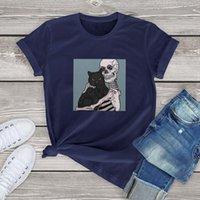 Женская футболка Harajuku Cool Big Bones и милая кошка женская футболка мультфильм 100% хлопок футболка женщины с коротким рукавом веселые одежды