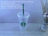 24oz troca de tumblers plástico bebendo suco de suco com lábio e palha mágica caneca CaisOM starbucks cor mudando plástico copo uv máquina impressão não desaparece