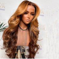 꿀 금발 옹 브레 원시 인도 곱슬 딱지없는 레이스 프론트 가발 1B 27 딥 웨이브 꼰된 T 정면 인간의 머리 가발 흑인 여성