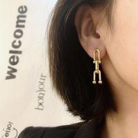 Dangle & Chandelier Vintage Punk Thick Link Geometric Earrings Metal Gold Drop Earring For Women Long Chain Celebrity Jewelry