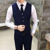 Vestito da uomo senza maniche slim slim maniche vestito da uomo in tinta unita maschio vestiti da uomo