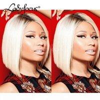 Nicki Minaj Sarışın Tam Dantel İnsan Saç Peruk Koyu Kökler Renk 613 Dantel Ön Peruk Siyah Kadınlar Için İki Ton Bob Peruk