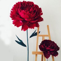Decorative Flowers & Wreaths Large Peony Head Crumpled Paper Decoration Wedding Background Rose Flower Stage Window Layout Decorations Props