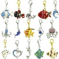 Jinglang clássico fecho de lagosta oceano série encantos Dangle mistura cor peixes diy encantos para jóias fazendo acessórios