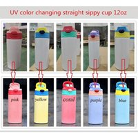Water Bottles 60-500pcs 12oz Sublimation Straight Sippy Cup UV Color Changing Bottle Stainless Steel Vacuum Insulated Kid Skinny Tumbler