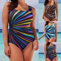 Women's Swimwear Plus Size Bikinis Women Fashion Multicolor One Piece Backless Bodycon Swimsuits Ladies Swimming Costume Padded Monokini
