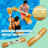Life Vest & Buoy 4pcs Set Wood Grain Inflatable Floating Swimming Ring Family Adults Kids Funny Water Battle Toy Pool Accessories