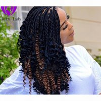 Wholesale full density natural short curly wig ombre brown color Braided Box Braids Synthetic Lace Front Wigs with Curly Tips