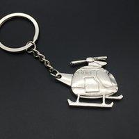 Pendentif en métal brillant Pendentif double côté laser Trefoil Hélicoptère Keychain
