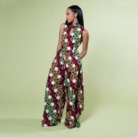 African style digital printed women's casual sleeveless jumpsuit fashion summer new wide leg pants