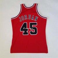 Michael 100% Costurado # 45 Mitchell Ness 94 95 Venda Por Atacado Jersey Vermelho Mens Vest Tamanho XS-6XL Costura Basquete Jerseys NCAA
