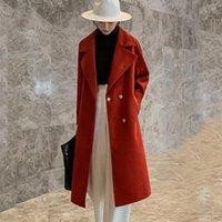 Women's Wool & Blends [EWQ] Fashion Solid Color Medium Long Korean 2021 Lapel Winter Lace Up Sleeve Pink Woolen Coat Female 16E3241