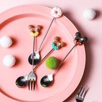 Cute Girl Heart Donut Stainless Steel Creative Cartoon Fruit Dessert Spork Coffee Spoon Stirring
