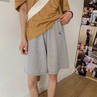 Pantalones cortos para mujer verano suelto 3xl bordado sólido BF Pierna ancha-longitud Harajuku Casual Simple Inst Simple Trendy All-Match Students Chic Women's