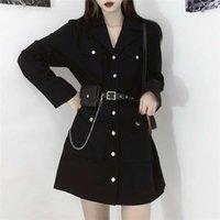 Casual Dresses Black Long Sleeve Gothic Dress Korean Harajuku Vintage Sexy Mini Suit Summer Women Autumn Elegant Office Clothes Cosplay