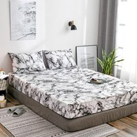 Queen King Size Fitted Sheet Deep Pocket Mattress Bedspread Marble Printed Cool Soft Lightweight Microfiber Bedding Set 2 Pillows Super King