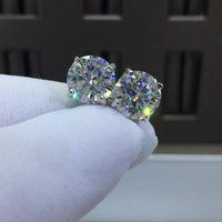 Inbeaut 925 الفضة 4 Prong ممتاز قطع إجمالي CT D اللون تمرير اختبار الماس تألق كبير مويسانيت أقراط للنساء