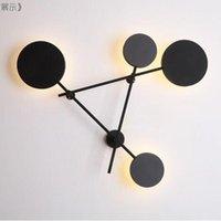 Duvar Lambası 4 Kafa Dönebilen Siyah Gri Başucu Montaj Işık Nordic Postmodern 38 W 48 W Oturma Odası Aplikleri LED Armatür