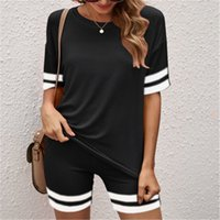 Womens Solid Color Home Tracksuits Fashion Trend Short Sleeve Tops Skinny Shorts Fitness Suits Female Summer Yoga Loose Casual Sports Sets