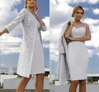 Elegant Lace Mother Of The Bride Dresses With Long Sleeves Jacket Bateau Neck Beaded Evening Party Gowns Knee Length Sheath Short Satin Wedding Guest Dress