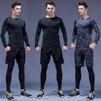 Otoño 3 PCS / Set Hombres Traje deportivo Ropa interior de compresión Ropa de jogging Tres camisetas Pantalones Gimnasio Fitness Trabajos