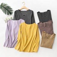 Women's T-Shirt Women Autumn Fashion Striped T Shirts Warm Thick -neck Top 2021 Korean Streetwear Plus Size Clothes XZ605