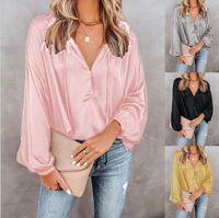 여성 여성의 순수한 컬러 셔츠 2021 봄과 가을에 대한 넥 루스 긴 소매 블라우스