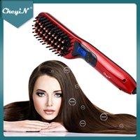 Ckeyin iyonik saç düzleştirici fırçası ısıtmalı seramik düzleştirme sıcak tarak ayarlanabilir sıcaklıklar anti-haşlanma düz ütüler