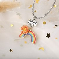 Mulheres costurando coração arco-íris amizade casal colar para meninas moda melhor amigo pingente colares gargantilha jóias 3581 Q2