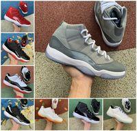 Jubileu 25º aniversário alta 11 11s sapatos de basquete playoffs criados frescos concord concord 45 ganhe como 96 Páscoa baixo brilhante lenda cítrica gama azul platina tênis tênis