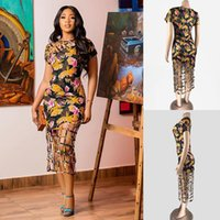 Casual Dresses TSXT 2021 African Style Women Printed Hollow Out Skinny Dress Sexy Lady O-neck Short Sleeve Sheath Plus Size Mid-calf