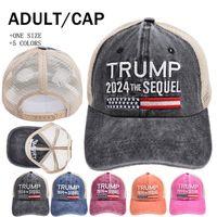 Trump 2024 Sequel Baseball Hat Ponytai Washed Mesh Cap Embroidery Letter Bucket Net Caps 5 colors LLA936
