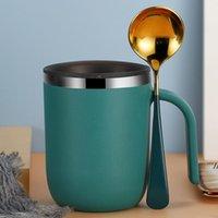 Двойная стена кружки из нержавеющей стали с ручками вакуумные изолированные кофейные чашки боковой лак творческий тумблер простая домашняя чашка воды 400мл DWC7030