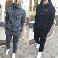 Herren Trainingsanzüge Herbst- und Winter-Pullover Mantel Reißverschluss Lässige Lauf Sportswear Solide Farbe Zweiteiliger Anzug
