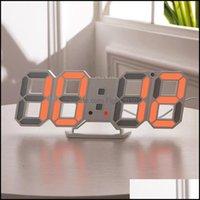 Décor & Gardenmodern Design 3D Led Wall Clock Digital Alarm Clocks Display Home Living Room Office Table Desk Night Drop Delivery 2021 28Yya