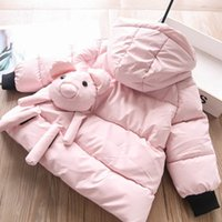 3 color baby girls back 3d cartoon hooded coat fashion kids animal Quilted Jacket children casual long sleeve Wadded Jackets S1719