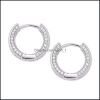 Hoop & Hie Jewelry Big Cz Diamond Jewelry Sier Gold Plated Stud Earring Women Men Earrings Cross Copper Drop Delivery 2021 Qhuuc