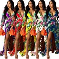 Mujeres Sexy Floral Imprimir Vestidos de fiesta largos Otoño Profundo V Cuello de manga completa Vestido de vacaciones Elegante Frente High Split Playa Vestido