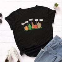 Plus Size 5XL Fashion Womens Tops Fruit Cartoon Print 100% Cotton O Neck Short Sleeve Summer Casual