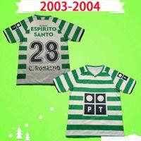 Sporting Lisbon Ретро 2003 2004 Футбольные трикотажки # 28 C.ronaldo 03 04 Винтаж Maillot Danny Camisa de Futebol SA Pinto Classic Футбольная рубашка Униформа