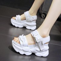 Dress Shoes Clogs With Heel 2021 Summer Sandals On A Wedge Increasing Height Suit Female Beige Open Toe Bling Thick Platform Com