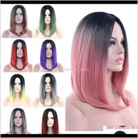 Soowee 11 couleurs Noir au rose ombre droit Bob perruques Synthétiques courtes poitrine Cosplay perruque pour femmes FADGB 0KUHW