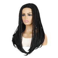 Synthetic Wigs Long Box Braided For Black Women Ombre Wig Fake Scalp Heat Resistant Braiding Hair BY197